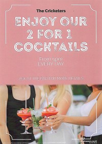 <h2>2 FOR 1 COCKTAILS</h2>