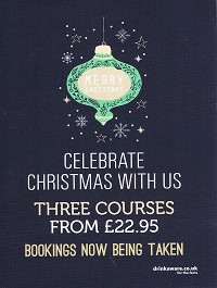 <h2>Christmas at The Cricketers</h2>